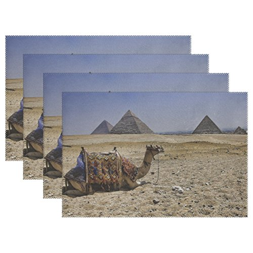 RH Studio Plate Pad Camel Pyramids Egypt Heat-Resistant Table Placemats Set of 4 Stain Resistant Table Mats Washable Eat Mat Home Dinner Decorative
