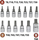 13 Pieces - EPAuto Torx Bit Socket Set, T8-T60, Cr-V
