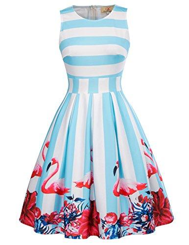 Casual Stripe Flamingo Print A-Line Swing Dress Wear to Work Size XL CL665-1