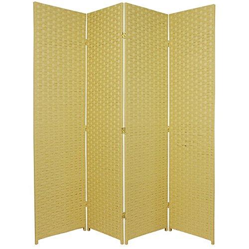 Oriental Furniture 6 ft. Tall Woven Fiber Room Divider - 4 Panel - Dark Beige