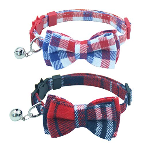 OFPUPPY 2 Pack/Set Plaid Cat Collar Breakaway with Cute Bowtie & Bell for Kitty, Adjustable 7.8-10.2""