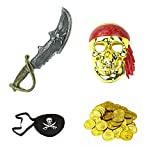 Pirate Costume Set - Mask, Sword, Eye Patch, 100 pcs Gold Coins