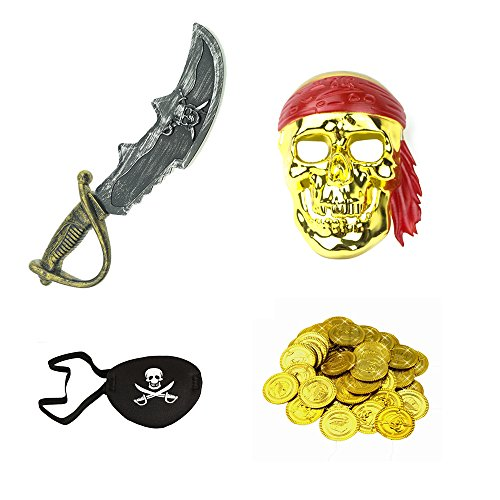 Treasure Chest Costume Ideas (Pirate Costume set - Mask, Sword, Eye Patch, 100 pcs Gold Coins)