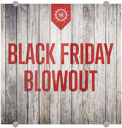 16x16 5-Pack Nautical Wood Premium Brushed Aluminum Sign Black Friday Blowout CGSignLab