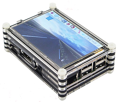 Guhui 9 Layer Clear Acrylic Box for Raspberry pi 3 3.5 Inch Touch Display Compatible for LANDZO 3.5 inchTouch Display ) (black)