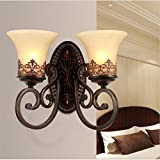 M-Maker American retro double head wall lamp bedroom bedside balcony aisle front lamp living room iron lamp ( Color : Double hand )
