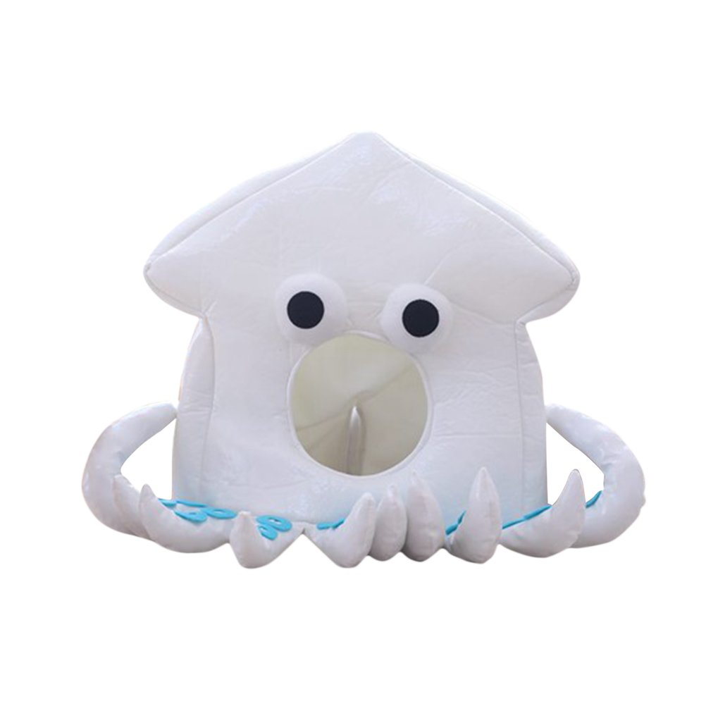 LUOEM Octopus Hat Caps Animal Party Hat Headwear Cartoon Hat Plush Hat for Women Girls (White)
