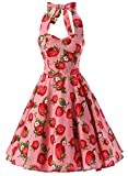 Ensnovo Womens 1950s Halter Floral Spring Garden Party Picnic Dress Strawberry Pink, L