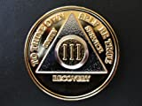 AA Coin (Alcoholics Anonymous) Recovery Medallion Anniversary/Birthday Gold & Silver Plated Coin Years 1 thru 55 by Miracles 12 Step