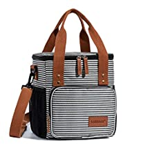 LAKIDAY Insulated Lunch Bag for Women/Men/Kids Reusable Lunch Tote Box Container with Adjustable Shoulder Strap Leakproof for Work/Picnic/Hiking/Beach/Fishing(Black White Strip-2)