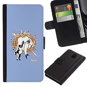 YiPhone /// Tirón de la caja Cartera de cuero con ranuras para tarjetas - Gorila & Shark Explosión - Samsung Galaxy Note 3 III