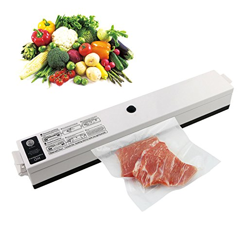 TedGem Vacuum Sealer Food Saver Machine, One Touch Automatic Vacuum Sealing System with Starter Kit, 15 Pcs Antibacterial Food Sealer Bags, LED Seal Indicator Lights, (Vacuum Package Machine)