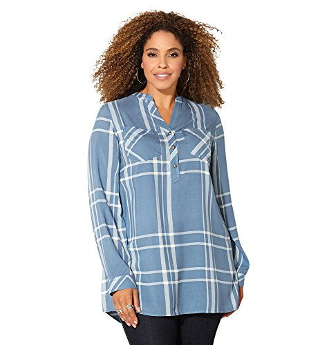 Avenue Women's Plaid Chambray Popover Tunic, 26/28 Medium Wash