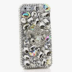 Galaxy NOTE 8 Case, [Premium Handmade Quality] Bling Genuine Crystals Protective Case Cover for Samsung Galaxy NOTE 8 [by Luxaddiction] Silver Fleur De Lis Design