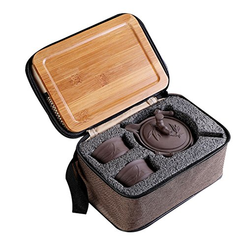 (Goodbag Yixing Ceramic Teapot Chinese/Japanese Kungfu Teapot Purple Clay Teapot Travel Tea Set Porcelain Teapot, Teacups, Wooden Tea Tray, Portable Travel Bag)