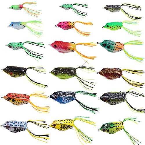 Croch Hollow Body Frog Lure Weedless Topwater Kit (18 PCS) (Double Live Bait Hook)