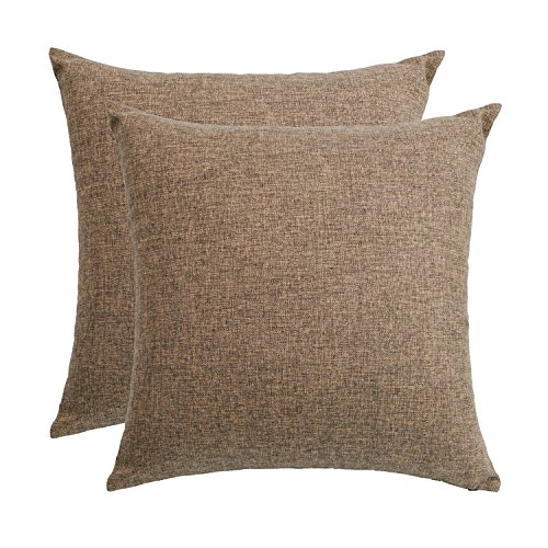 """SUNOOMY Set of 2 Décor Soft Solid Linen Square Throw Pillow Case Cushion Covers Sofa Couch Bed Chair,Brown,18""""x18""""(45cm)"""