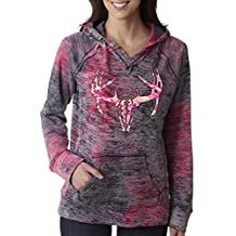 Deer Skull Pink Camo Burnout Hoodies Redneck Girl Sweatshirt