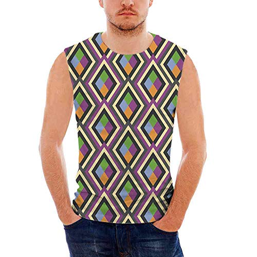 Mens Abstract Tank Top Sleeveless Tees All Over Print Casual T- Shirts,Geometric