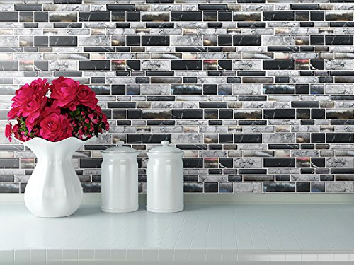 Stick On Tiles for Backsplash Kitchen | Self-Stick Backsplash Tiles | Peel and Stick, Self Adhesive, Removable Backsplash Wall Tile Stickers - 10'' x 10.5'' (10-Pack) by In-The-Dot (Image #3)