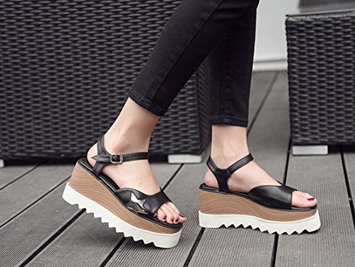 Respeedime Women Thick Bottom Slope with Open Toe High Heel Sandals Increased Shoe Black H9mtpt
