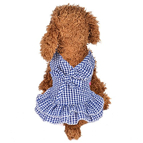 Hpapadks Pet Small Fresh Dress,Summer Lattice Sling Dress Dog Puppy Costumes Pet Clothes Small Dog Clothes for Sale]()