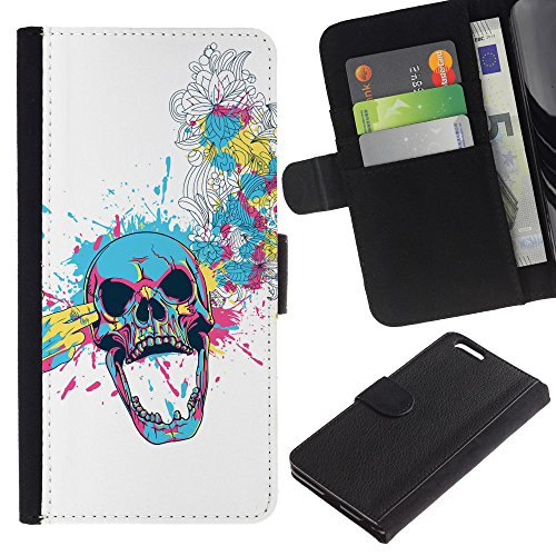 EuroCase - Apple Iphone 6 PLUS 5.5 - Floral Skull Blast - Cuir PU Coverture Shell Armure Coque Coq Cas Etui Housse Case Cover
