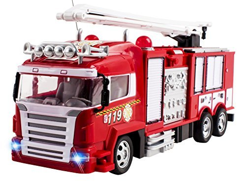 RC Fire Truck Rescue Engine Radio Remote Control w/ Music and Flashing Lights Rechargeable Battery Fire Engine Truck