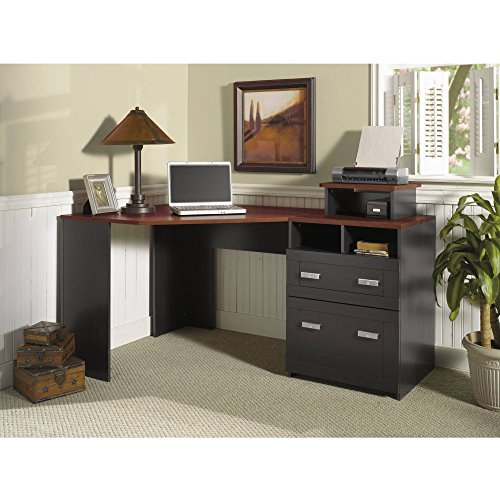 Contemporary Wooden Corner Computer L Desk with Reversible Pedestal - Cherry Office Desk with Storage Drawers & Open Cubbies for Office, Student or Living Room Home Decor Furniture Best Care LLC