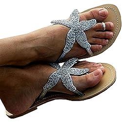 Liyuandian Women Rhinestone Starfish Slippers Sandal Beach Sea Star Diamond Flat flip-flop Shoes