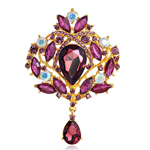 Gold Ribbon Brooch (Ezing Large Gold-Tone Flower Ribbon Teardrop Purple Crystal Pendant Brooch (F))
