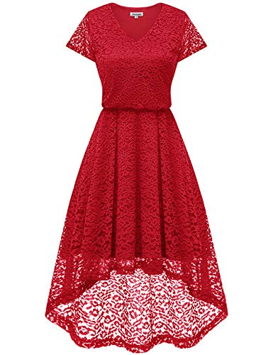 Bbonlinedress Women's Vintage Floral Lace High Low Cap Sleeve Formal Cocktail Swing Party Dress Red 2XL