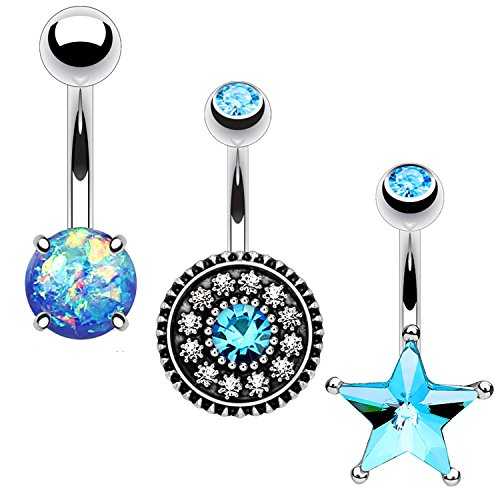 BodyJ4You 3PC Belly Button Ring Set Aqua Star Flower Created-Opal 14G Surgical Steel Curved Navel (Blue Flower Curved)