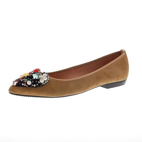 50e931e7d1f Manoletina Mujer Camel Piedras y Perlas Miuxa Noa  Amazon.es  Zapatos y  complementos