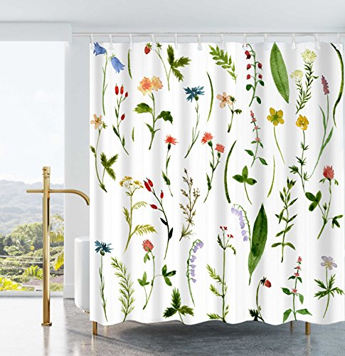 Ao blare Leaves Plants Shower Curtain bloom Flower Green Leaves Waterproof Polyester Fabric Shower Curtain 72x72Inch