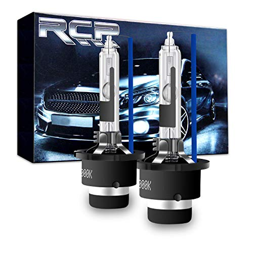 RCP - D2R8 - (A Pair) D2R 8000K Xenon HID Replacement Bulb Factory Ice Blue Metal Stents Base 12V Car Headlight Lamps Head Lights 35W (55w Xenon Blue Bulbs)
