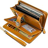 UMODE Vintage Style Genuine Leather Large Capacity Wallet Organizer for Women (Yellow Color)