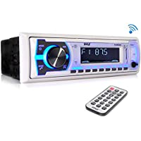 Pyle Bluetooth Marine Stereo Receiver | AM/FM Radio System | Wireless Music Streaming with Hands-Free Talking | USB/SD/MP3/AUX | Remote Control | Single DIN (PLMRB29W)