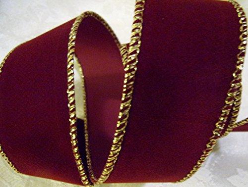 Holiday Crafting Velvet Maroon/Gold Ribbon - 1.5