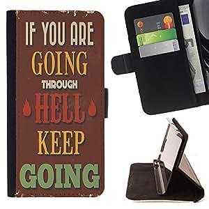 Dragon Case - FOR Sony Xperia Z1 Compact D5503 - keep going on - Caja de la carpeta del caso en folio de cuero del tirš®n de la cubierta protectora Shell