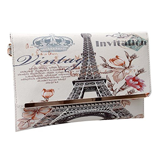 BMC Womens Textured PU Faux Leather Postage Stamp Design Print Flap Fashion Clutch Handbag - The Crown of France
