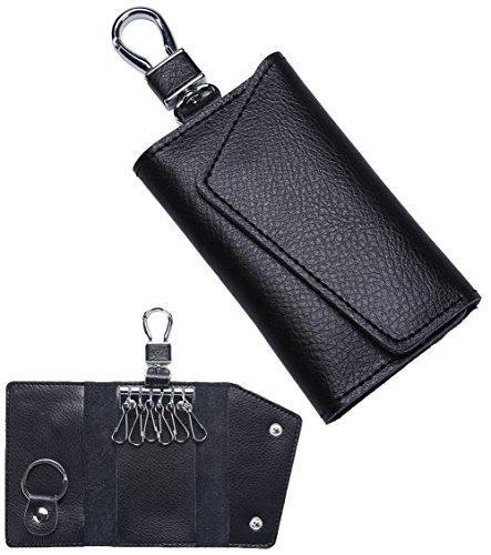 Leather Keychain Key Holder Bag Card Holder Key Case Wallet Purse w/ 6 Key Hook (Six Hook Key Case)
