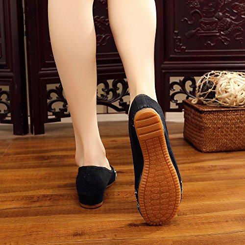 comodo moda etnico scarpe a black Ballerine donna casual Chnuo donna dell'aumento suola all'interno ricamate Scarpe da scarpe stile tendina zqOwf6gB