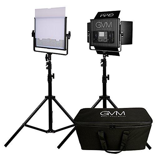 LED Video Light GVM 672S CRI97+ TLCI97+ 18500lux Dimmable Bi-color 3200K-5600K Light For Outdoor Interview Studio Portrait Photographic 2 pcs Kit( 2 Video Light Set +2 Light Stand ) by GVM