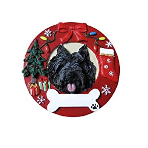 Cairn Terrier Christmas Ornament Wreath Shaped Easily Personalized Holiday Decoration Unique Cairn Terrier Lover Gifts 102