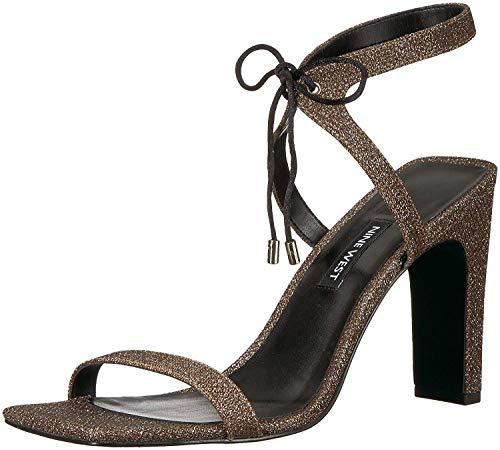 Nine West Women's LONGITANO Heeled Sandal, Black Natural Fabric, 9.5 Medium US