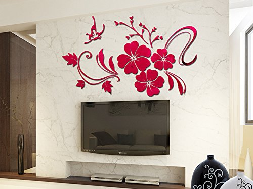 Alrens(TM)Luxury Butterfly Flowers Pattern Acrylic 3D Wall Stickers Living Room TV Backdrop Dining Room Decorated Bedroom Decor Removable Home Decoration Mural Decal Art