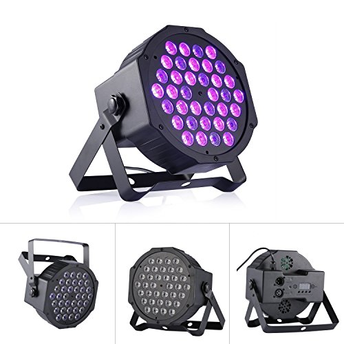 72W Black Light DJ Blacklight UV Lights Stage Spotlight 36 LEDs Auto Lighting Voice Control for Party Wedding Disco Club with Remote Control