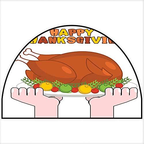 Hua Wu Chou Half Round Coir Door mathalf Round Dog mat W30 x H18 INCH Happy Thanksgiving Turkey Cooking Roast Fowl on Plate with APPL