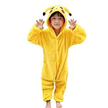 91c0b5b4d8 Pyjamas Kinder Erwachsene Einhorn Einteiler Tieranzüge für Junge Mädchen  Damen Herren (L, Pikachu Kind